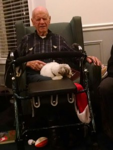 Murphy with one of his friends at the nursing home.